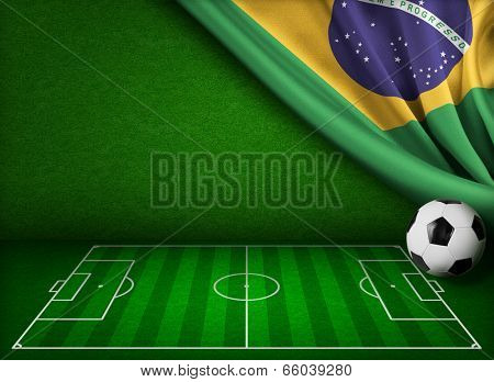 Brazil flag and soccer field concept background