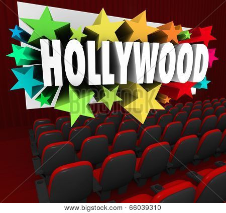 Hollywood word movie screen show business industry producing movies, films, cinema