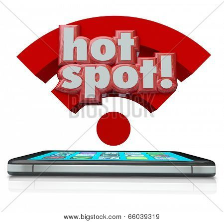Hotspot word in 3d letters over a smart cell phone broadcasting an internet network signal