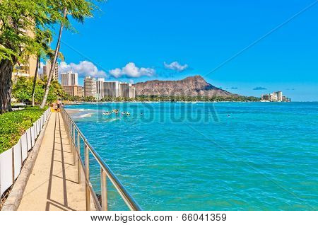 Waikiki shoreline in Honolulu, Hawaii