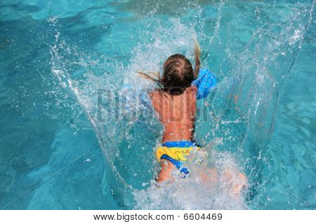 Girl Teenager Jumped In Pool