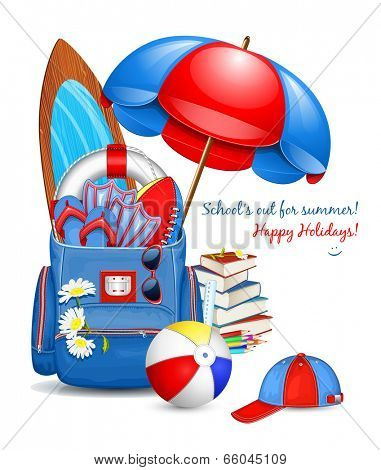 School bag with traditional summer holidays objects. Education traditional objects are on the back. Happy summer holidays! Vector illustration.