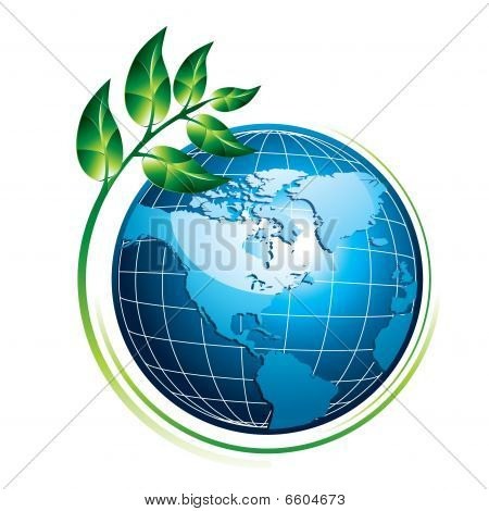 Blue globe with plant