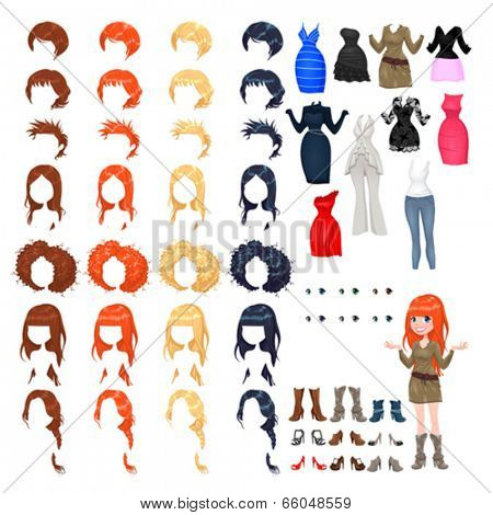Avatar of a woman. Vector illustration, isolated objects. 7 hairstyles with 4 colors each one, 10 different dresses, 6 eyes colors, 9 shoes.