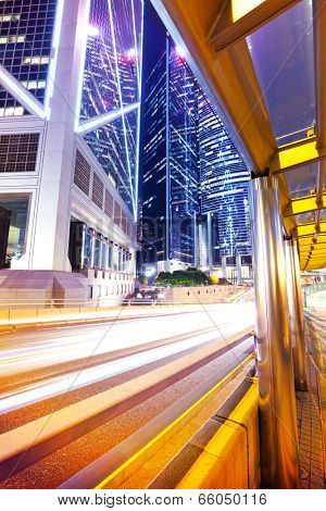 Traffic in central business district in Hong Kong