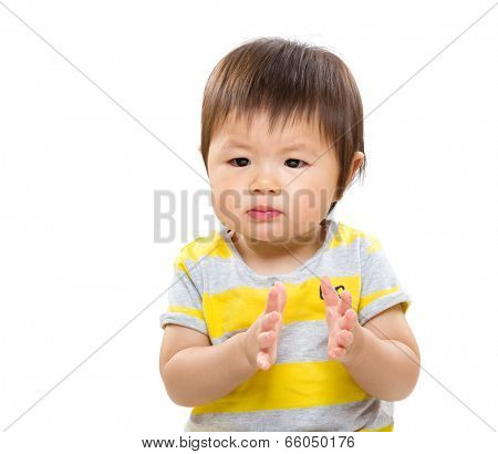 Asian baby clap hand