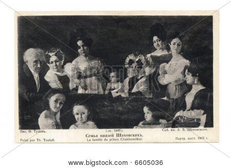 Alte Postkarte mit Prince Chakhowsky-Familienbild