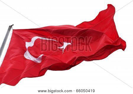 Turkish Flag Waving In Wind