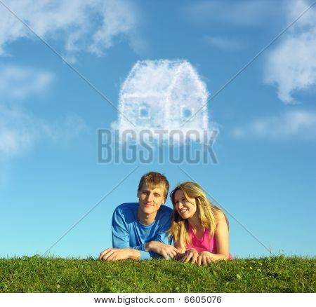 Smiling Couple On Grass And Dream Cloud House Collage