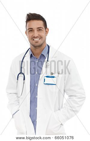 Portrait of confident young happy male doctor.