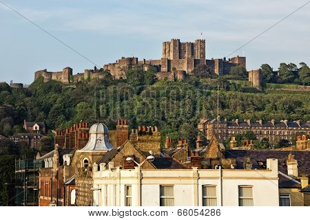 Castle above the city of Dover, Kent, UK