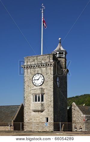 Clock tower at the harbor of Dover, Kent, England
