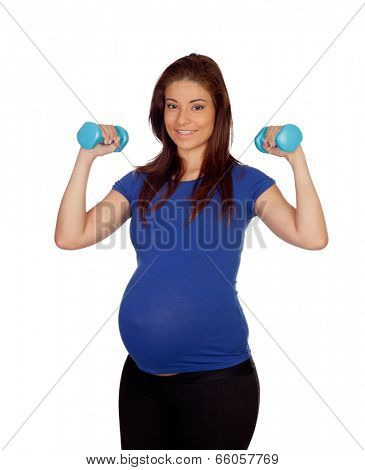 Pregnant woman with dumbbells isolated on a white background