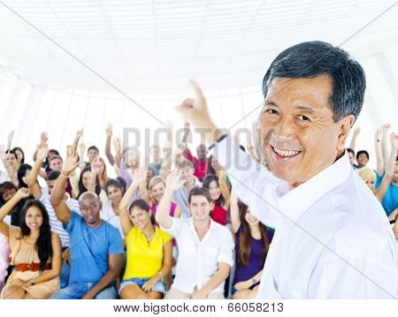Teacher and large group of student in Lecture room