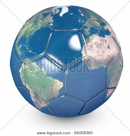 Concept Of Soccer Ball With A Printed World