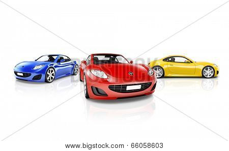 Studio Shot of Red Blue and Yellow Sports Cars