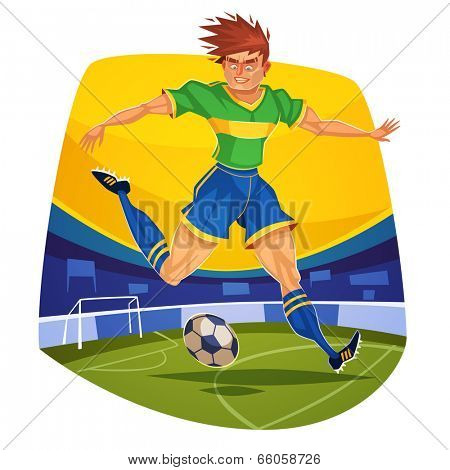 Forward. Soccer player. Vector image