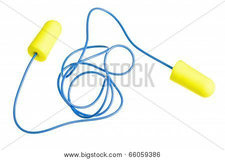 Yellow earplugs with blue band
