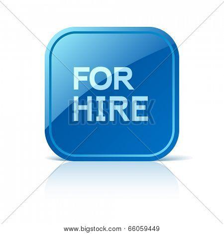 For hire. Blue square web button