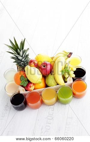 lots of various fruity juice - drink and beverages