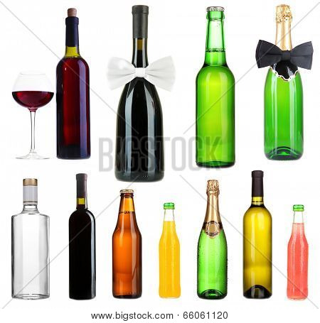 Collage of different alcohol bottles isolated on white