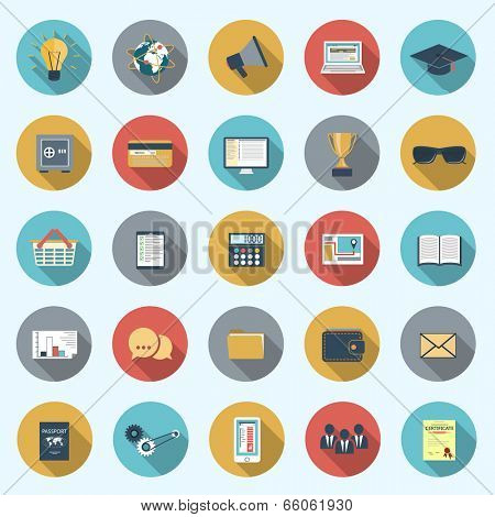 Set of modern icons in flat design with long shadows and trendy colors for web, mobile applications, business, social networks etc. Vector eps10 illustration