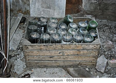 Old bottles in a attic