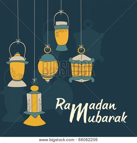 Beautiful greeting card design with hanging arabic lanterns on blue background for celebration of Ramadan Mubarak.