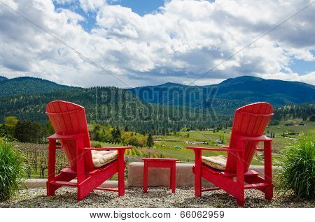Two red chairs overlooking vineyard