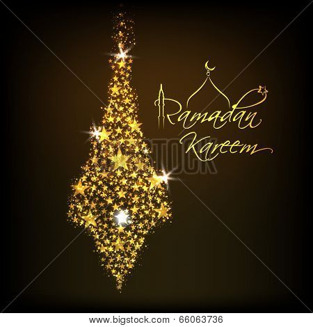 Beautiful greeting card design with golden decorative light hanging on brown background for celebrations of Ramadan Kareem.