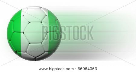 Soccer ball with Nigeria flag in motion isolated