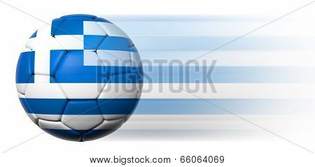 Soccer ball with Greek flag in motion isolated