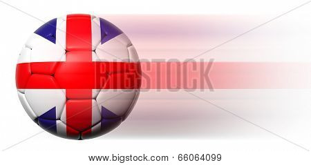 Soccer ball with British flag in motion isolated