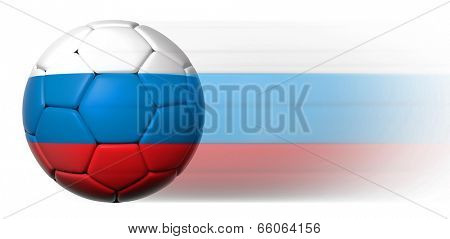 Soccer ball with Russian flag in motion isolated
