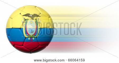 Soccer ball with Ecuadorian flag in motion isolated