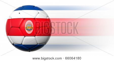 Soccer ball with Costa Rican flag in motion isolated