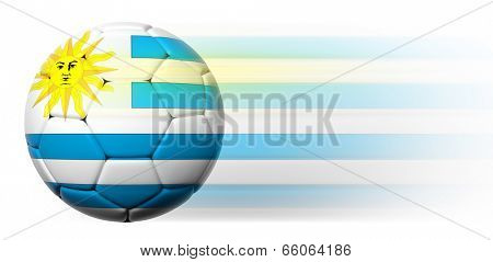 Soccer ball with Uruguayan flag in motion isolated