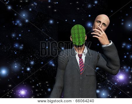 Man removes face to reveal binary streams