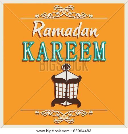 Beautiful greeting card design with arabic lantern on yellow background for holy month of Muslim community Ramadan Kareem on yellow background.
