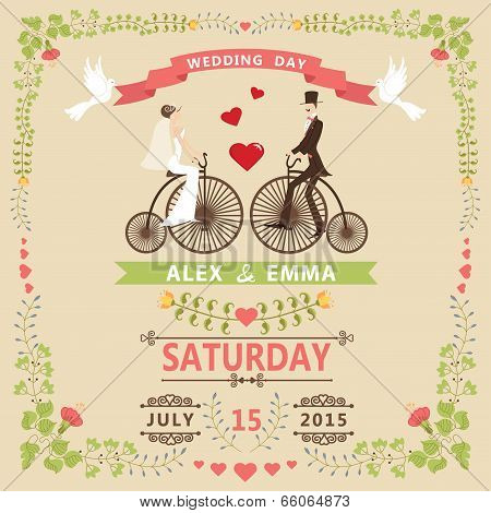 Wedding Invitation With Bride,groom,retro Bicycle,floral Frame