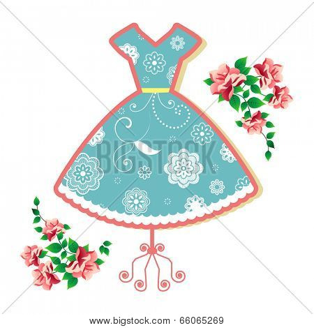 Summer dress (remove clip mask for full flower elements)
