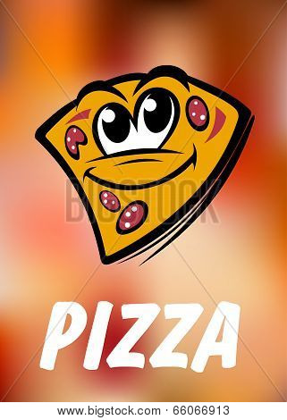Funny cartoon pizza slice