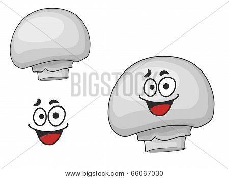 Happy edible white champignon mushroom
