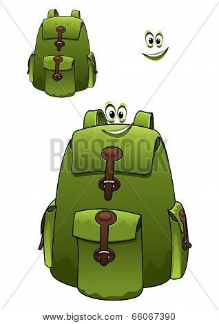 Green rucksack with a cute grin