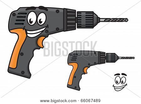 Smiling DIY hand drill with a happy face