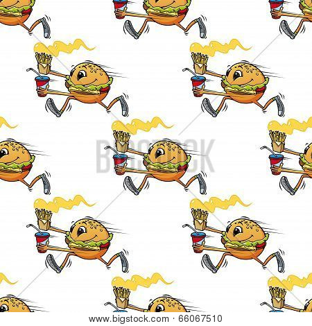 Cute seamless pattern of a running hamburger