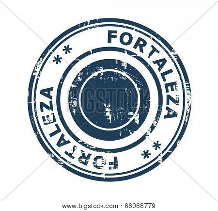 Grunge stamp of the city of Fortaleza in Brazil isolated on a white background.