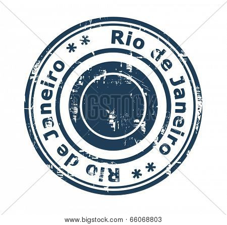Grunge stamp of the city of Rio de Janeiro in Brazil isolated on a white background.