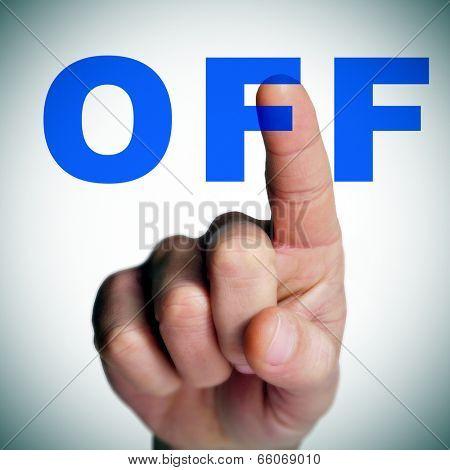 a man finger clicking an off button on a transparent screen