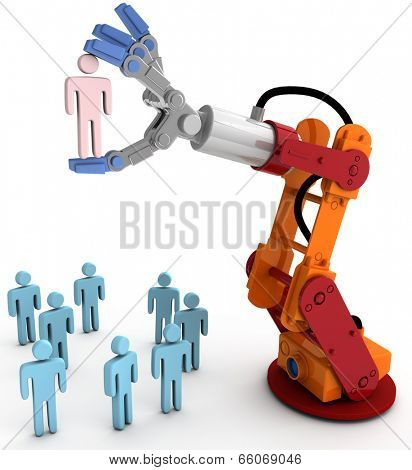 Robotic arm chooses one Person in group of people HR decision